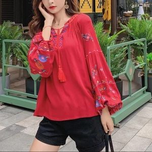 Boho embroidered puff long sleeve peasant top RED